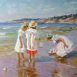 море берег дети