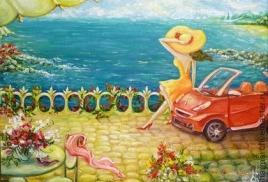 На машине на море